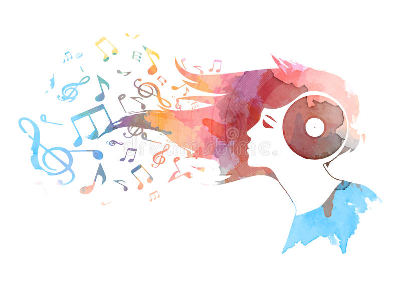 Conceptual watercolor background of a woman's vinyl head , hair turning into musical notes ,Vector royalty free illustration