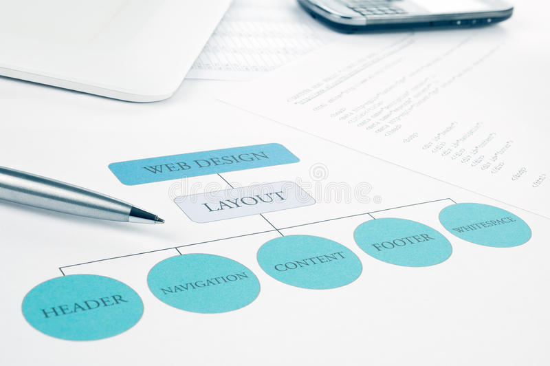Conceptual web design building plan and objects. Conceptual web design component layout building plan. Pen, smartphone and touchpad tablet on background. Blue stock images