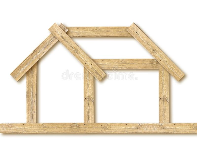 Conceptual wooden house on white background - concept image.  royalty free stock images