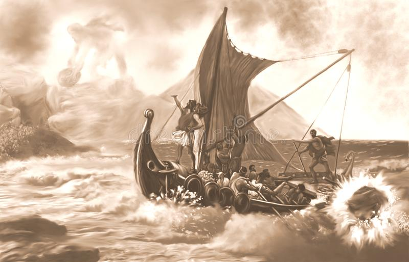 Polyphemus attacks Ulysses and his crew Sepia vector illustration