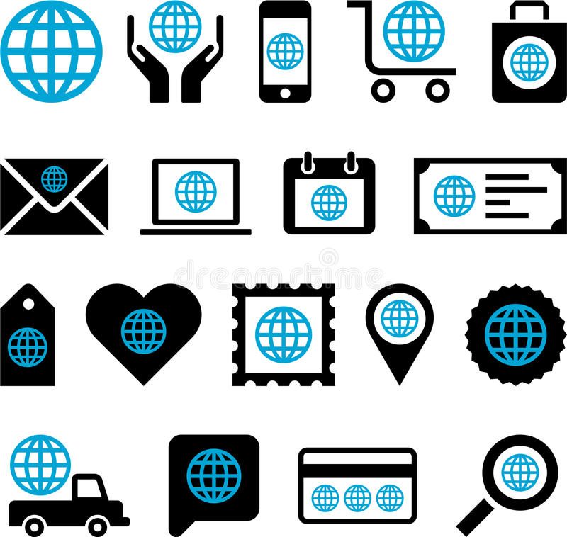 Conceptual World icons stock illustration