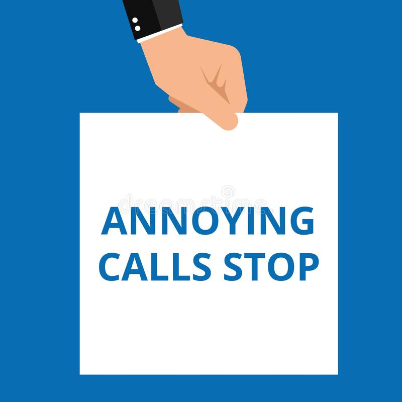 Conceptual writing showing Annoying Calls Stop. Vector illustration stock illustration