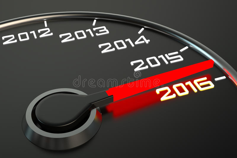 Conceptual 2016 year speedometer royalty free illustration