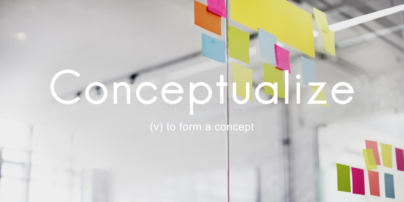 Conceptualisez le concept créatif de plan d'abrégé sur notion d'idées image stock