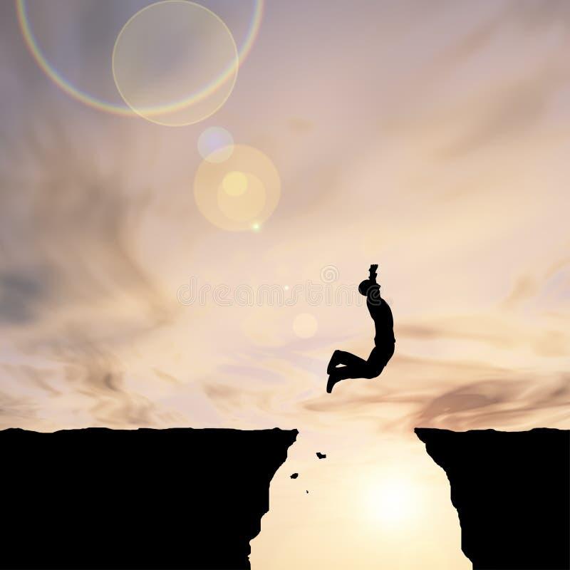 Conceptueel bedrijfsmensensilhouet die bij zonsondergang springen stock foto's