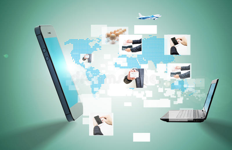 Conceptueel beeld over hoe een technologie van de smartphone draadloze verbinding royalty-vrije stock afbeelding