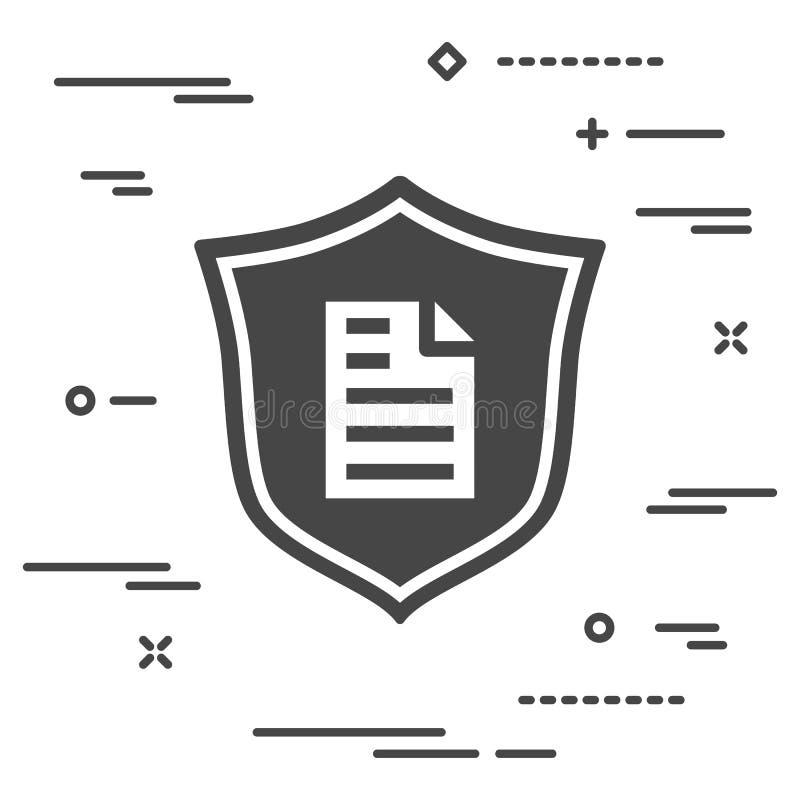 conceptueel beeld van documentbescherming op een personal computer royalty-vrije illustratie