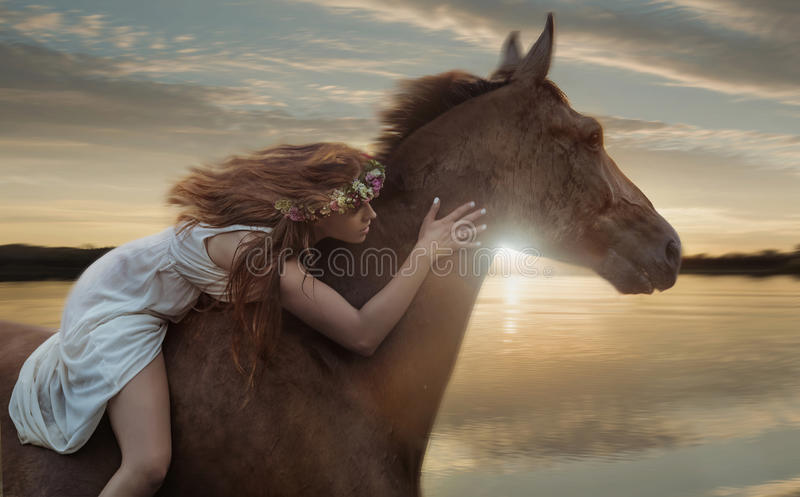 Conceptueel beeld van galopperend paard met een amazone stock fotografie