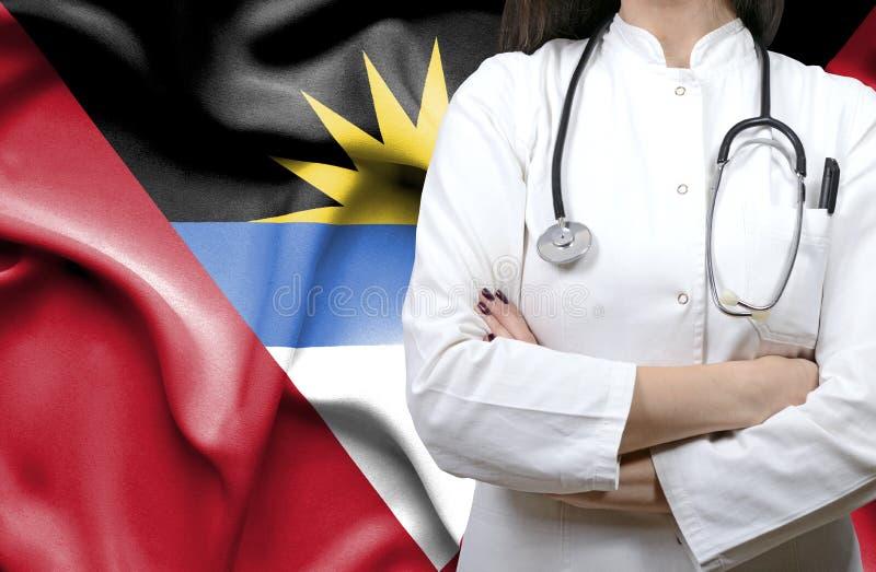Conceptueel beeld van nationaal gezondheidszorgsysteem in Antigua en Barbuda stock afbeeldingen