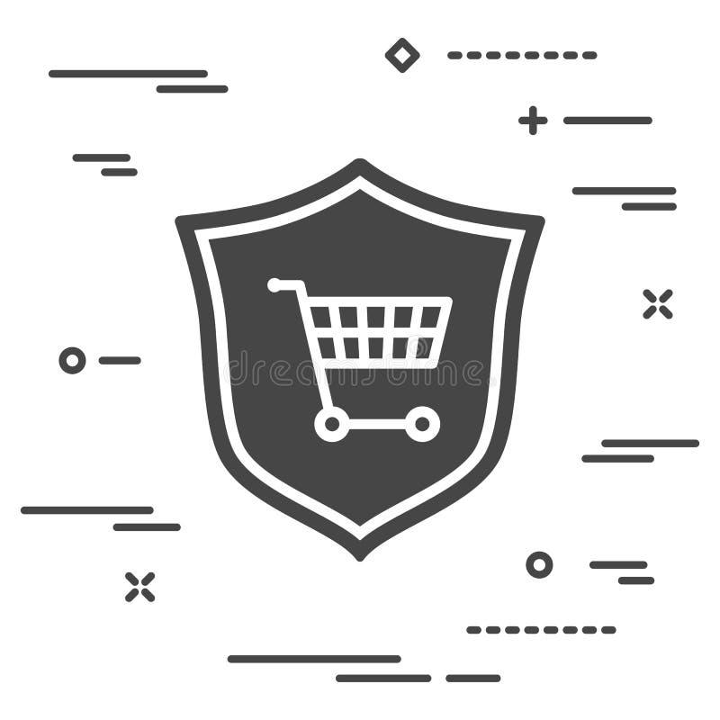 conceptueel beeld van online het winkelen bescherming vlak schild met vector illustratie