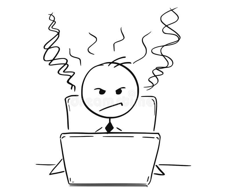 Conceptueel Beeldverhaal van de Vermoeide Boze Bedrijfsmens die aan Comput werken royalty-vrije illustratie