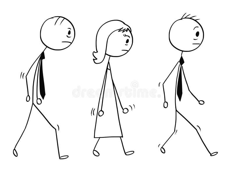 Conceptueel Beeldverhaal van het Droevige of Vermoeide Bedrijfsmensen Lopen royalty-vrije illustratie