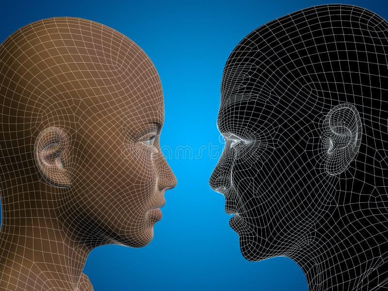 Conceptueel 3D wireframe of netwerk menselijk mannelijk en vrouwelijk hoofd vector illustratie