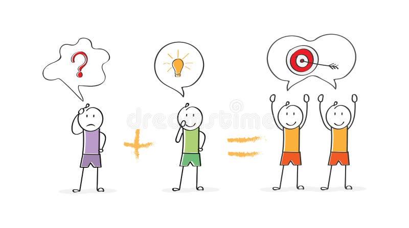 Conceptueel gebruik van teamwork Een idee veroorzaakt een resultaat vector illustratie