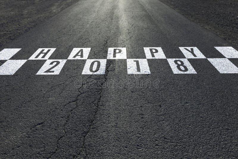 Conceptueel gelukkig Nieuwjaar op de weg royalty-vrije stock afbeelding