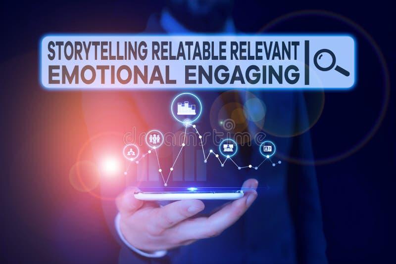 Conceptueel handmatig schrijven met Verhaal Telling relatablerele Zakelijke foto met Storytell Relatable Relevant royalty-vrije stock fotografie