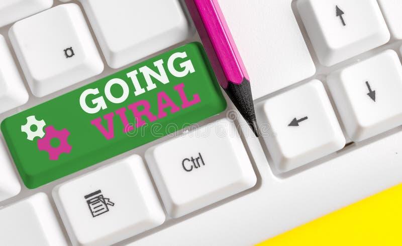 Conceptueel schrijven met Going Viral Zakelijke foto met beeldvideo of link die snel door stock afbeelding