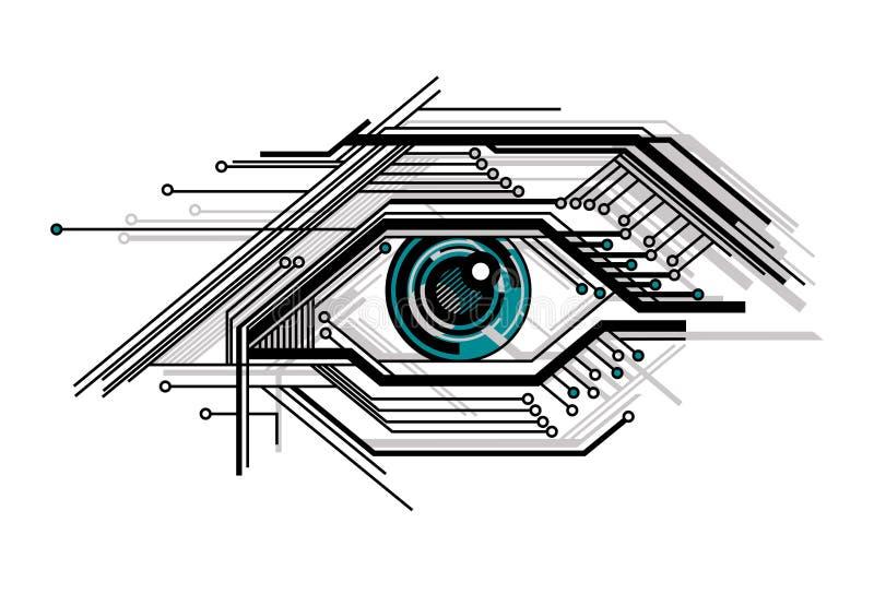 Conceptueel technologie gestileerd oog royalty-vrije illustratie