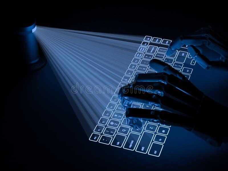 Conceptueel virtueel die toetsenbord op oppervlakte en robothanden wordt ontworpen stock afbeelding