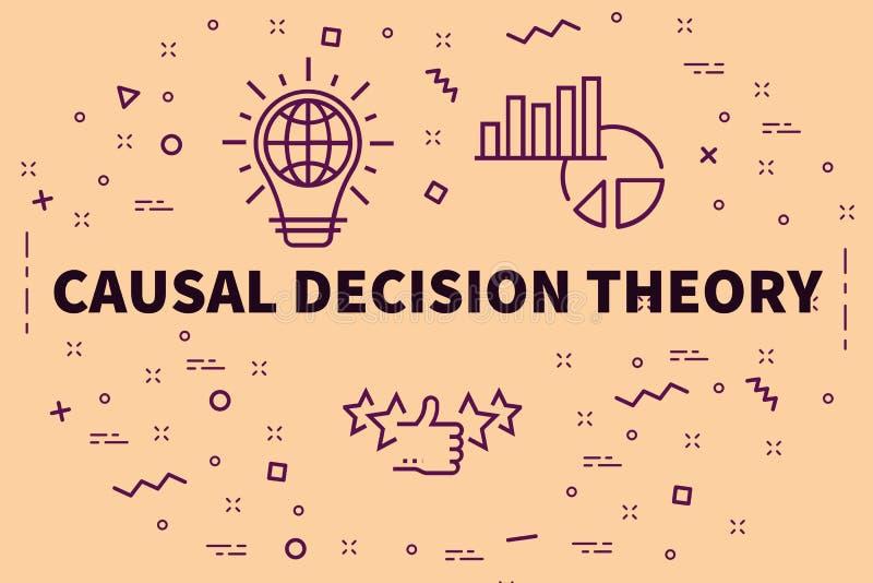 Conceptuele bedrijfsillustratie met het woorden oorzakelijke besluit vector illustratie