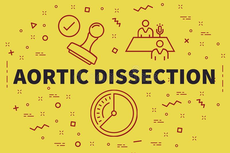 Conceptuele bedrijfsillustratie met woorden aortadissectio vector illustratie
