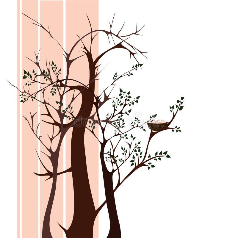 Bomen met nest stock illustratie