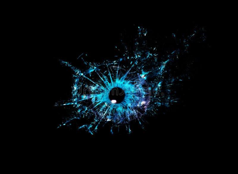 Conceptuele creatieve foto van een blauwe menselijke macro van het oogclose-up die in geïsoleerde reepjes van glas breekt stock fotografie