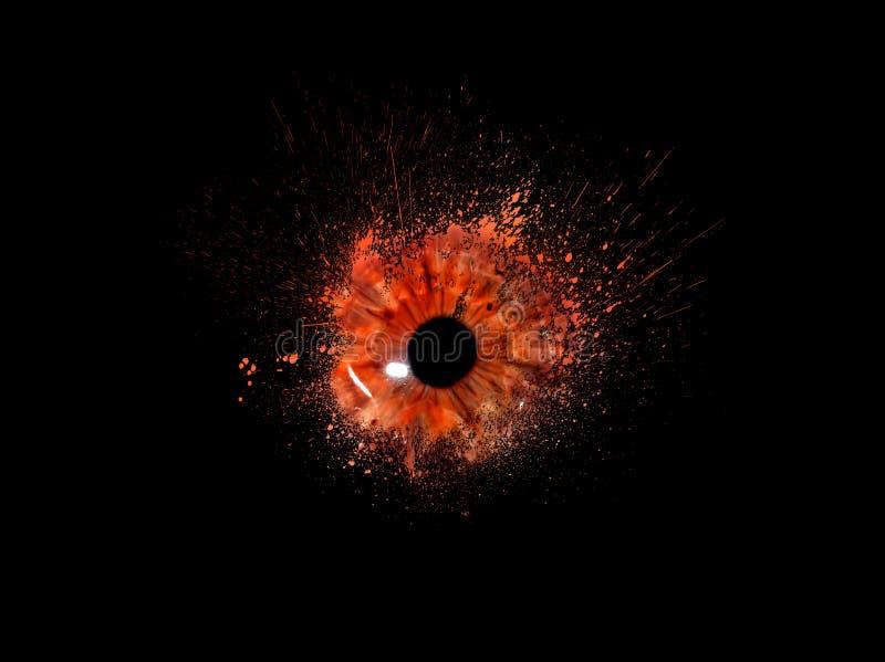 Conceptuele creatieve foto van een menselijk oogclose-up in de vorm van plonsen, explosie en druipende verf op een zwarte royalty-vrije stock afbeeldingen