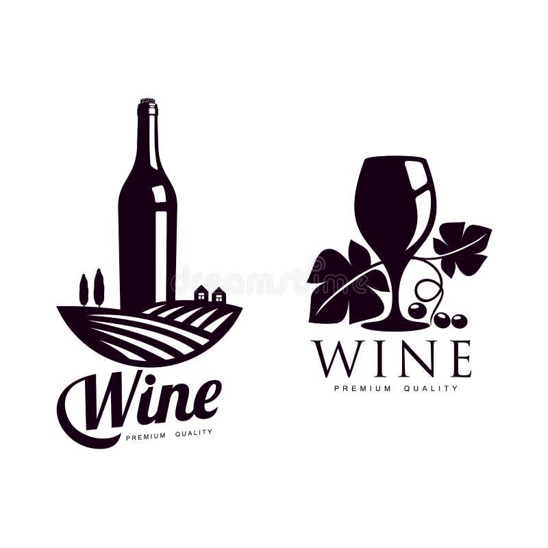 Conceptuele geïsoleerde het pictogramreeks van het wijnmakerijsilhouet vector illustratie
