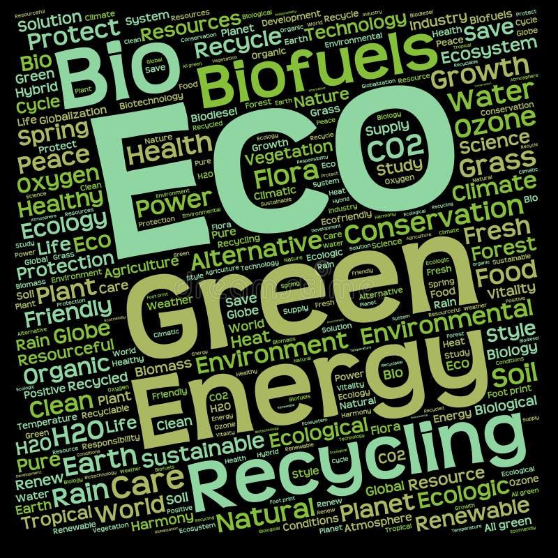 Conceptuele groene eco of ecologiewoordwolk royalty-vrije illustratie