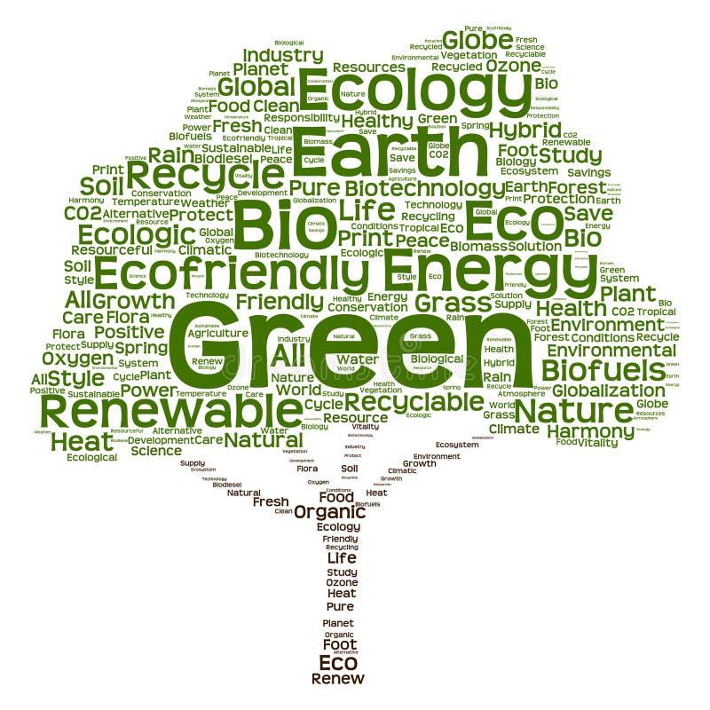 Conceptuele groene het woordwolk van de ecologieboom vector illustratie