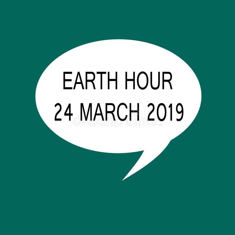Conceptuele hand die tonend Aardeuur 24 Maart 2019 schrijven De bedrijfsfoto demonstratie viert Duurzaamheid sparen het Planeetli vector illustratie