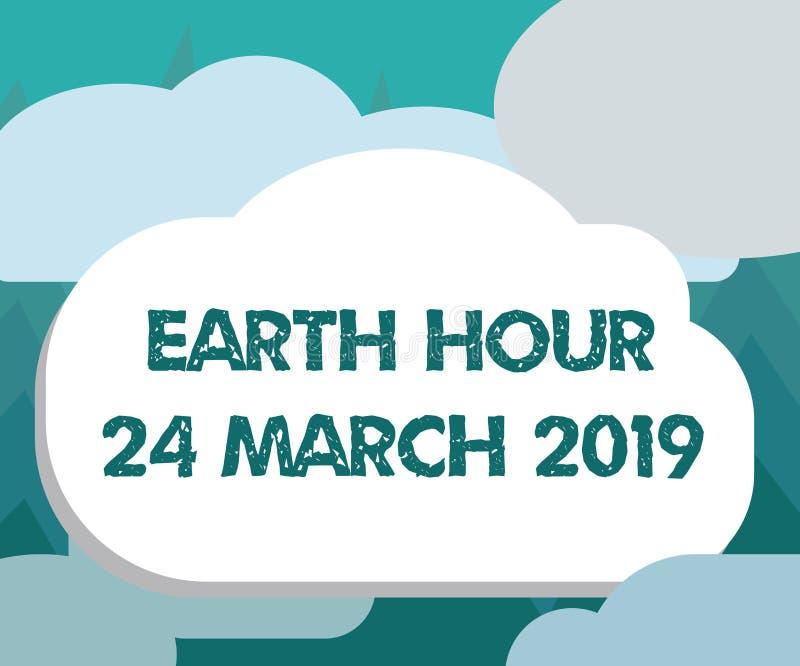 Conceptuele hand die tonend Aardeuur 24 Maart 2019 schrijven De bedrijfsfoto demonstratie viert Duurzaamheid sparen het Planeetli royalty-vrije illustratie