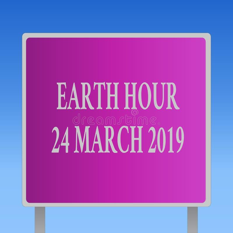 Conceptuele hand die tonend Aardeuur 24 Maart 2019 schrijven De bedrijfsfototekst viert Duurzaamheid sparen de Planeet royalty-vrije illustratie