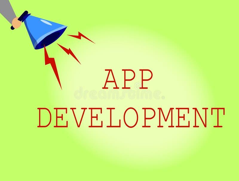 Conceptuele hand die tonend App Ontwikkeling schrijven Diensten van de bedrijfsfoto de demonstrerende Ontwikkeling voor ontzagwek vector illustratie