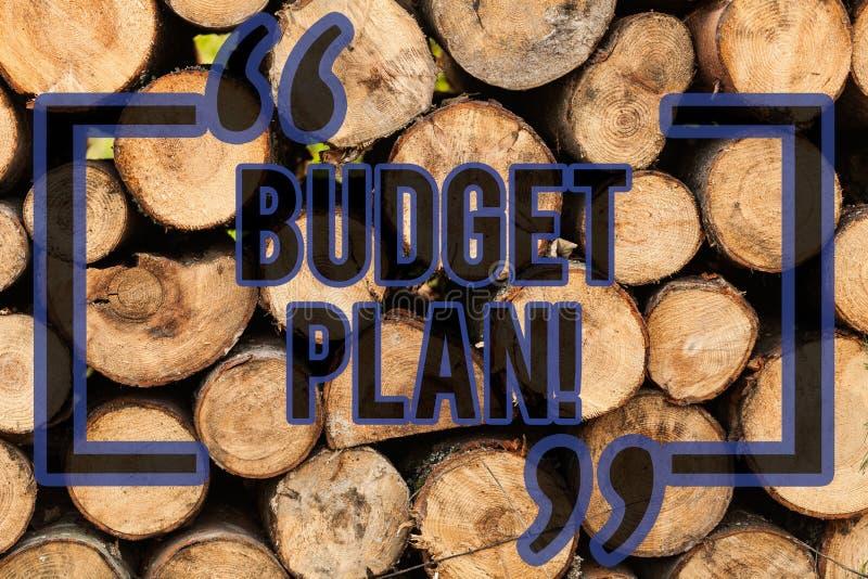 Conceptuele hand die tonend Begrotingsplan schrijven De raming van de bedrijfsfototekst van inkomen en uitgaven voor vastgestelde stock afbeelding