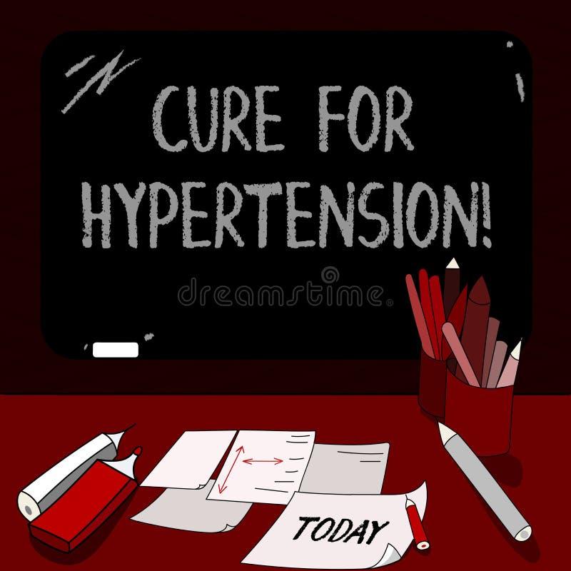 Conceptuele hand die tonend Behandeling voor Hypertensie schrijven Bedrijfsfoto die Ertoe brengend behandeling om de bloeddruk te stock illustratie