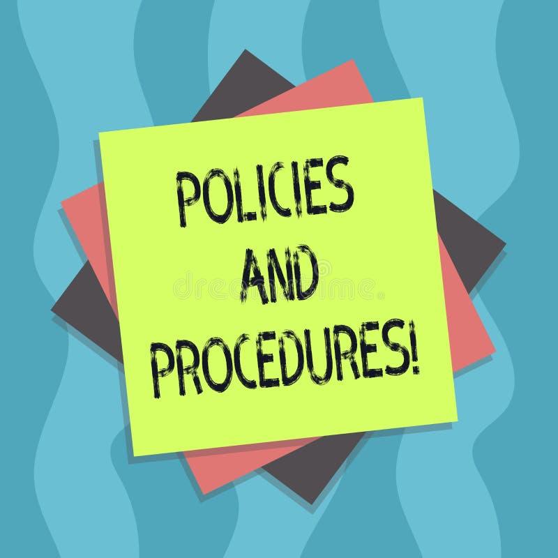 Conceptuele hand die tonend Beleid en Procedures schrijven De Reeks van de bedrijfsdiefototekst regelsrichtlijnen door om het eve stock illustratie