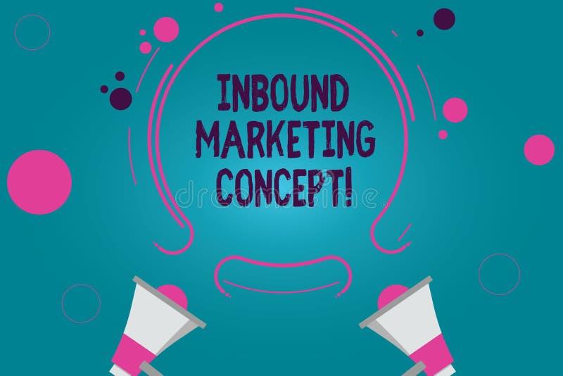 Conceptuele hand die tonend Binnenkomend Marketing Concept schrijven De strategie van de bedrijfsfototekst die zich bij het aantr stock illustratie