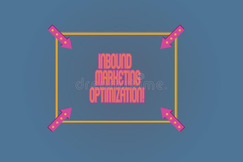Conceptuele hand die tonend Binnenkomende Marketing Optimalisering schrijven Het proces van de bedrijfsfototekst om de aandacht v vector illustratie