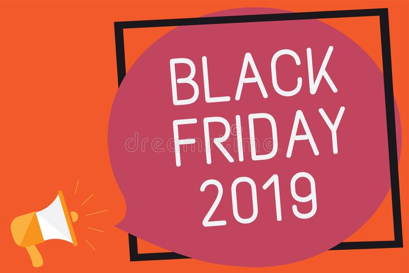 Conceptuele hand die tonend Black Friday 2019 schrijven De dag van de bedrijfsfototekst na Dankzegging voorziet het Winkelen dag  vector illustratie