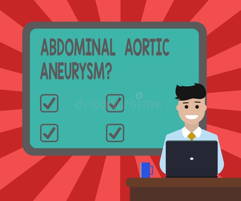 Conceptuele hand die tonend Buik Aortaaneurysmquestion schrijven Bedrijfsfototekst die de uitbreiding van aorta krijgen te kennen stock illustratie