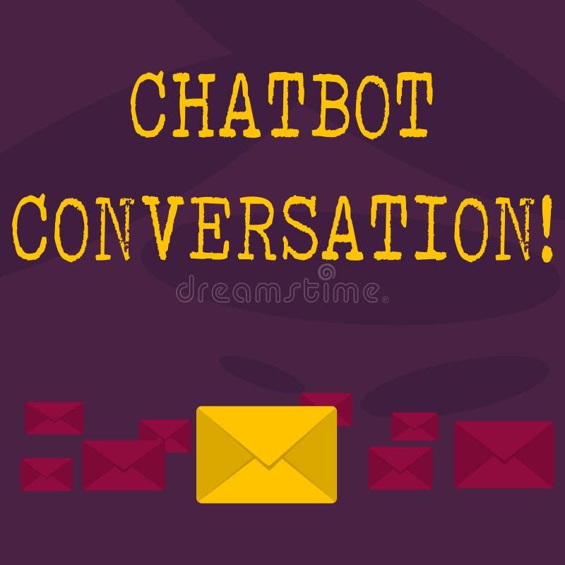 Conceptuele hand die tonend Chatbot-Gesprek schrijven Bedrijfsfototekst die met virtuele hulp kunstmatig babbelen vector illustratie