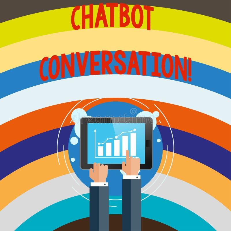 Conceptuele hand die tonend Chatbot-Gesprek schrijven Bedrijfsfototekst die met virtuele hulp kunstmatig babbelen royalty-vrije illustratie