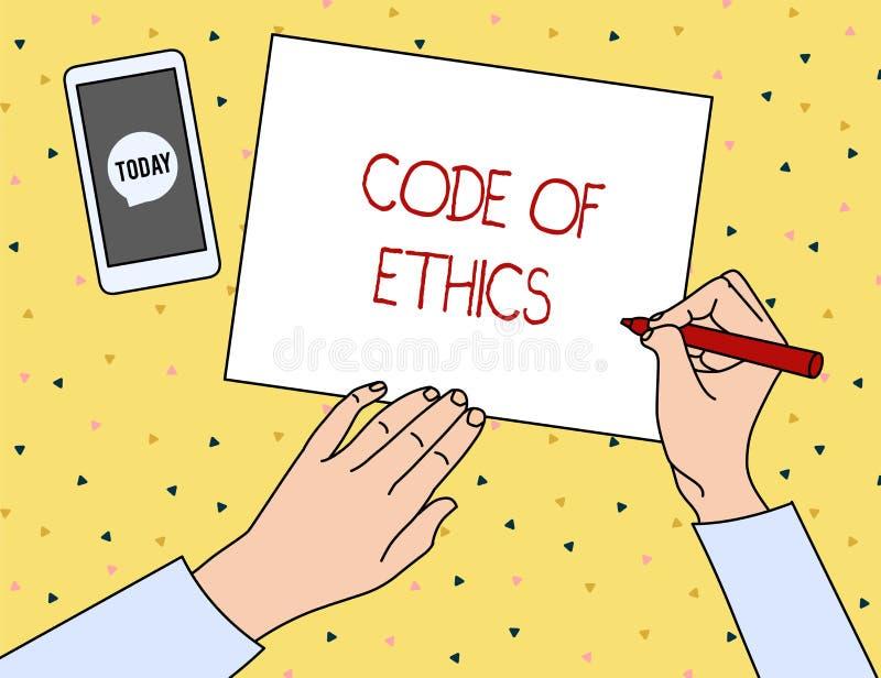 Conceptuele hand die tonend Code van Ethiek schrijven Bedrijfsfoto die basisgids voor professioneel gedrag demonstreren en royalty-vrije illustratie