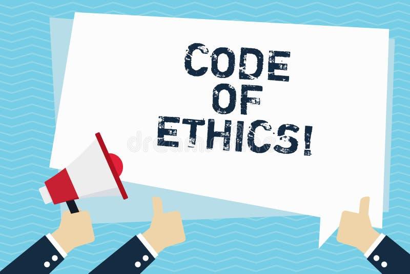 Conceptuele hand die tonend Code van Ethiek schrijven Van de de Regels Ethische Integriteit van de bedrijfsfototekst Morele de Ee royalty-vrije illustratie