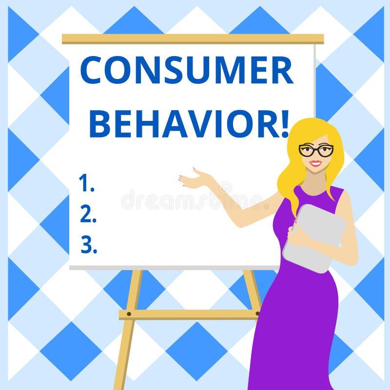Conceptuele hand die tonend Consumentengedrag schrijft Bedrijfsfoto demonstratiestudie van hoe de individuele klanten op elkaar i stock illustratie
