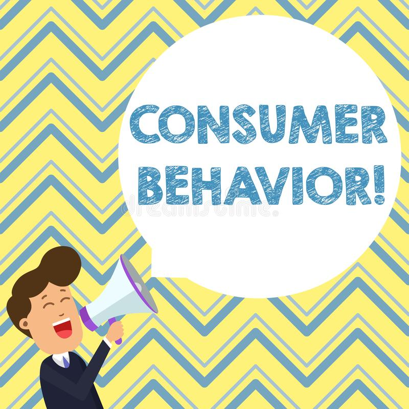 Conceptuele hand die tonend Consumentengedrag schrijft De studie van de bedrijfsfototekst van hoe de individuele klanten met inte vector illustratie