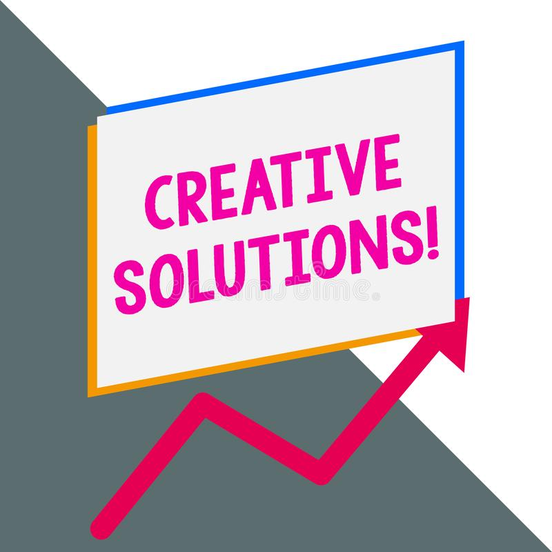 Conceptuele hand die tonend Creatieve Oplossingen schrijven Bedrijfsfoto die Originele en unieke benadering in het oplossen van a royalty-vrije illustratie
