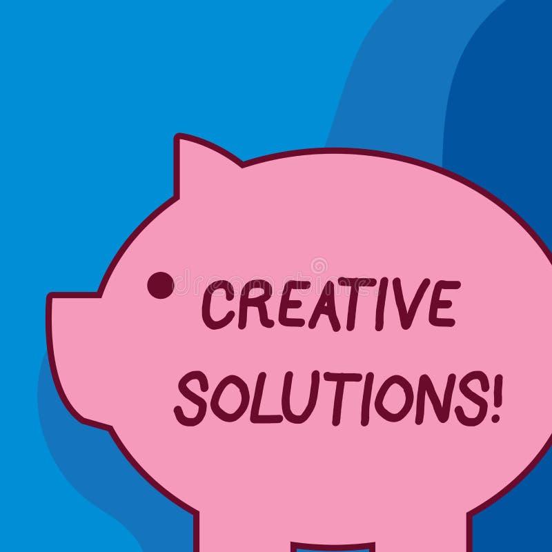 Conceptuele hand die tonend Creatieve Oplossingen schrijven De Originele en unieke benadering van de bedrijfsfototekst in het opl royalty-vrije illustratie